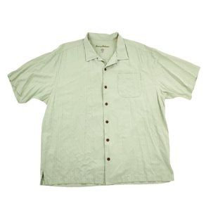 Tommy Bahama Button Front Shirt Men's XL Green EUC